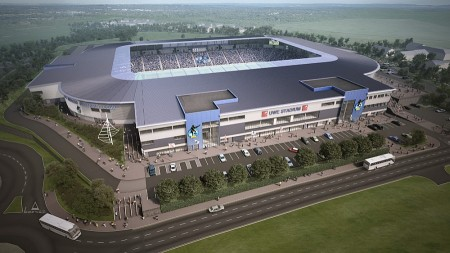 Aerial view of Bristol Rover's proposed new UWE Stadium in Stoke Gifford, Bristol.