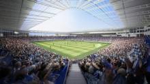 Internal view of Bristol Rovers' proposed new UWE Stadium in Stoke Gifford.