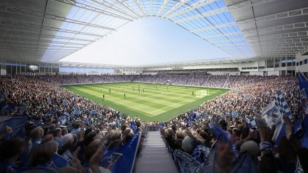 Internal view of Bristol Rovers' proposed new UWE Stadium in Stoke Gifford.