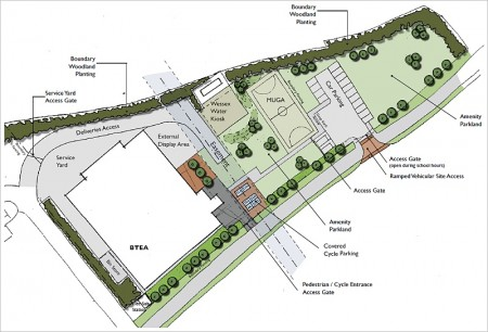 Sketch plan of the proposed BTE Academy in New Road, Stoke Gifford.