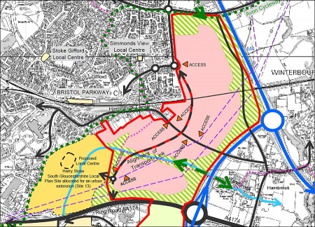 Framework diagram of the East of Harry Stoke new neighbourhood.