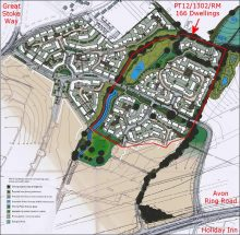 Harry Stoke masterplan showing area relating to PT12/1302/RM.