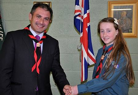 Jack Lopresti MP with Eirean Peacock of 1st Little Stoke Scouts.