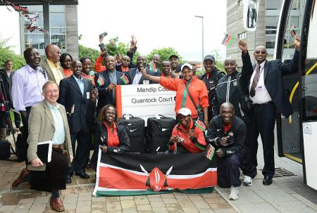 The Kenyan Olympic Team arrives at UWE, Stoke Gifford, Bristol.