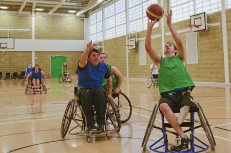 A training session of the South West Scorpions wheelchair basketball team.