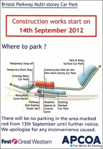 Flyer showing parking arrangements at Bristol Parkway railway station.