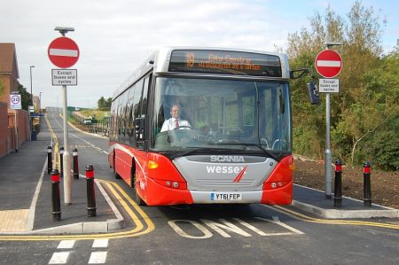 A Wessex Red no. 19 bus passes along the newly-opened Cheswick Bus Link.