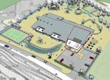 Aerial 3D view of proposed new primary school in Cheswick Village.