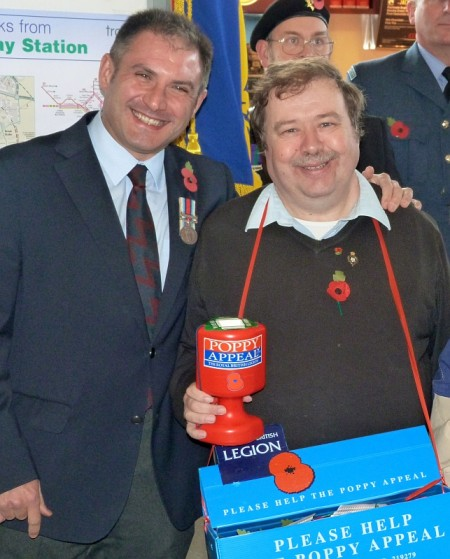 Jack Lopresti MP and David Bell at the 2012 Poppy Appeal launch.