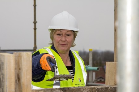 BTE Academy Principal Rhian Priest, pictured at the 'topping out' event.