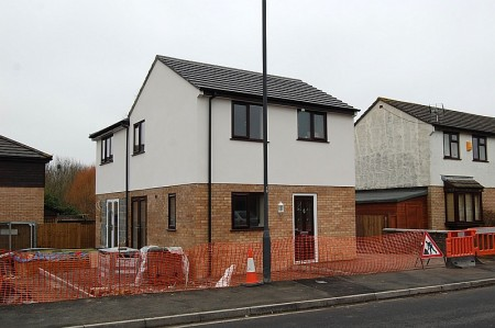 House under construction in Ratcliffe Drive, Stoke Gifford, Bristol.