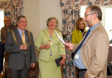 Cllr Trevor Jones entertains guests with some historical insights.