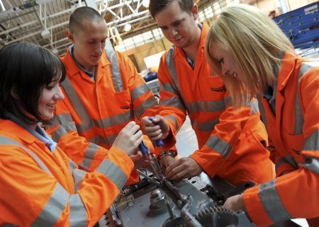 Network Rail apprentices training at HMS Sultan.