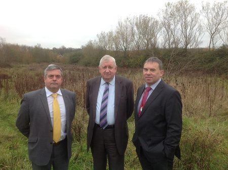 Nick Higgs, Cllr John Calway and Prof Steven West at the UWE Stadium site.