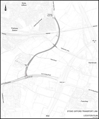 Location plan of the Stoke Gifford Transport Link (SGTL).
