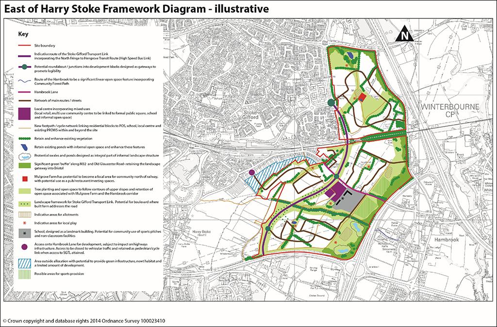 Illustrative framework diagram of the East of Harry Stoke New Neighbourhood.