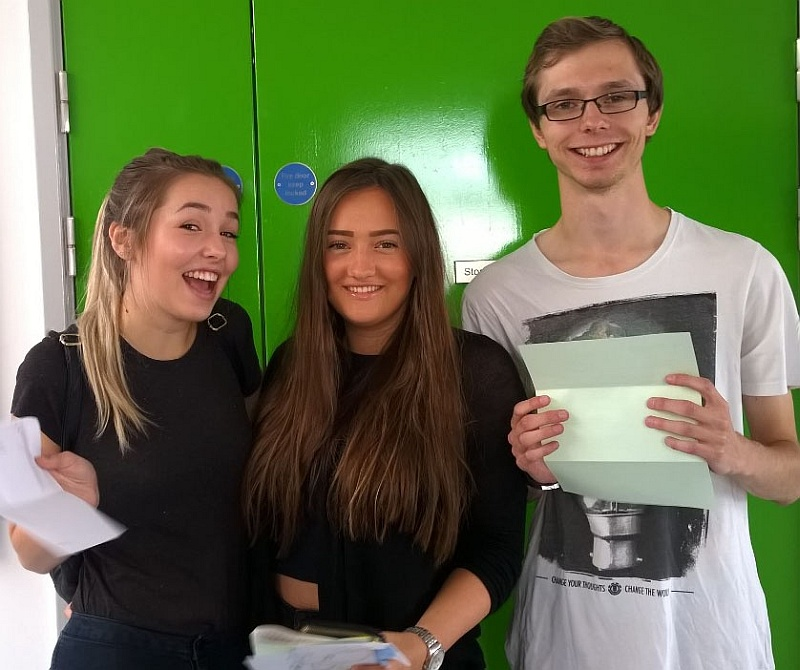 A-level high-achievers at Abbeywood Community School (l-r): Nadia Restall, Amy McQueen and James Hampson.