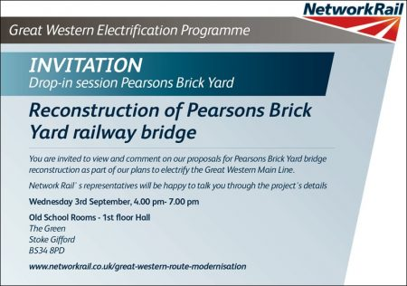 Invitation to a public consultation event about the reconstruction of Pearsons Brick Yard railway bridge in Stoke Gifford, Bristol.
