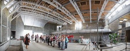 View inside the new church and community building under construction at St Michael's, Stoke Gifford, Bristol.