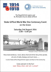 Stoke Gifford World War One Centenary Event, Saturday 2nd August 2014.