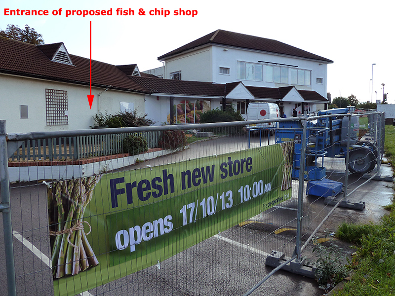 Location of proposed fish and chip shop on the site of the Cooperative store in Stoke Gifford, Bristol.