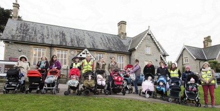 Buggy walkers at the start of a walk from The Old School Rooms in Stoke Gifford, Bristol.
