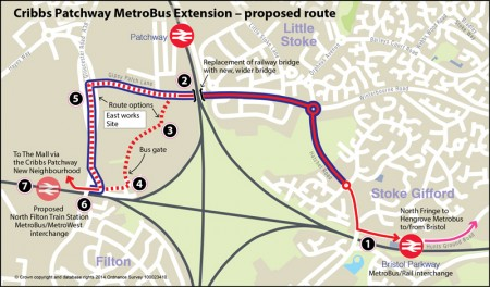 Cribbs/Patchway MetroBus Extension - proposed route.