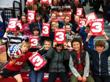 Pupils from Charborough Road Primary School, Filton at a Bristol Flyers basketball match.