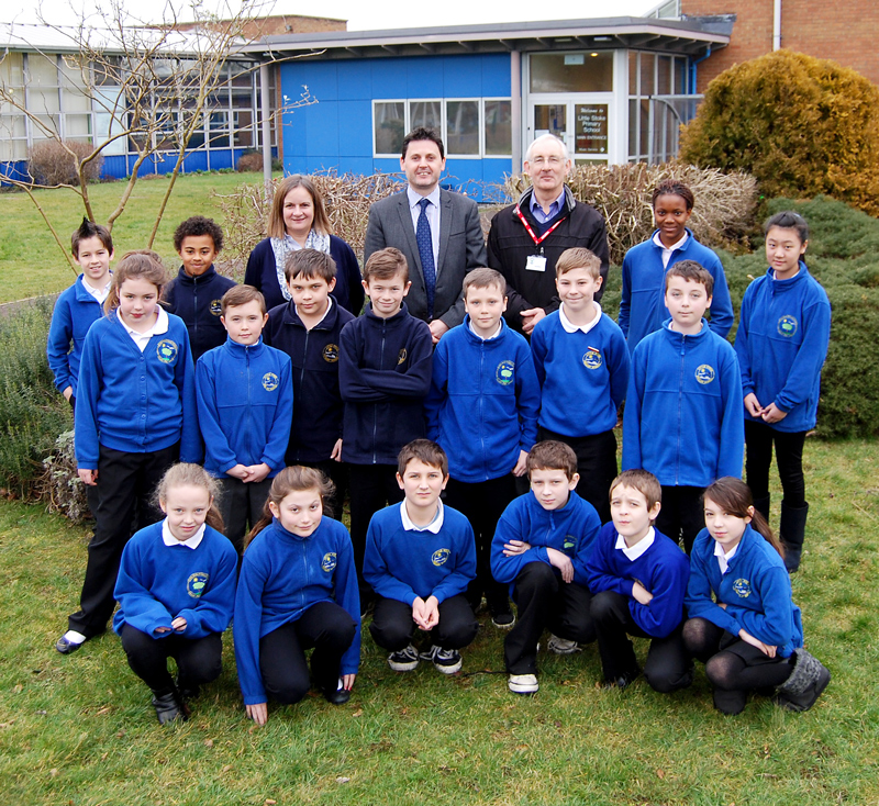 Staff and pupils at Little Stoke Primary School.