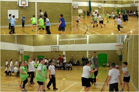 Primary school basketball tournament at Abbeywood Community School, Stoke Gifford, Bristol.