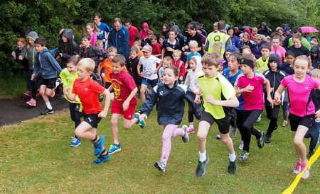 Start of the first anniversary Little Stoke junior parkrun.
