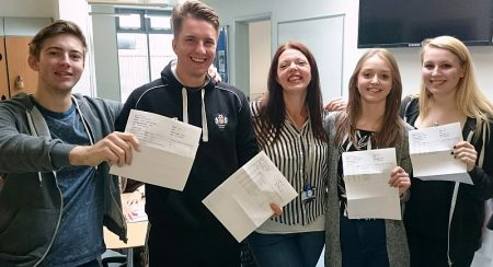 Students at Abbeywood Community School in Stoke Gifford, Bristol receive their A-level results.