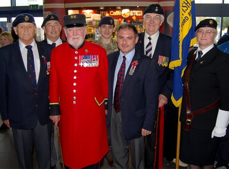 Chelsea Pensioner Brian Cummings MBE helps launch the Stoke Gifford RBL branch's Poppy Appeal for 2015/16.