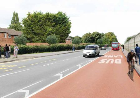 Indicative artist's impression of proposals on Hatchet Road (looking north).