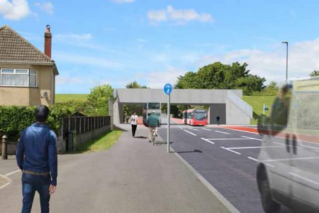 Indicative artist's impression of the new railway bridge on Gipsy Patch Lane (looking west).