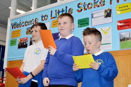 Official opening of the new library area at Little Stoke Primary School. Year 6 boys explain what reading means to them.