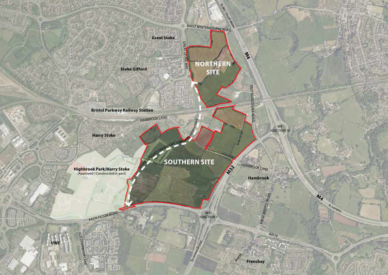 Map presented as part a community consultation on plans for Crest Nicholson's proposed development at East of Harry Stoke.