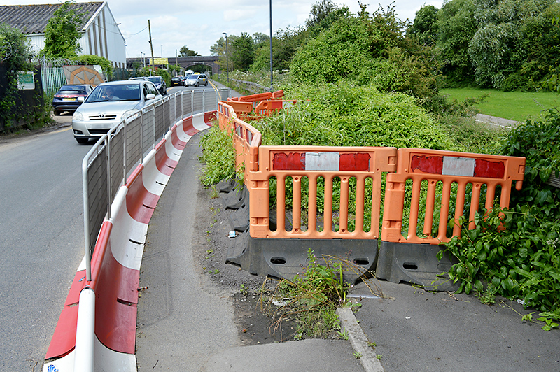 Collapsed footway on Station Road, Little Stoke.