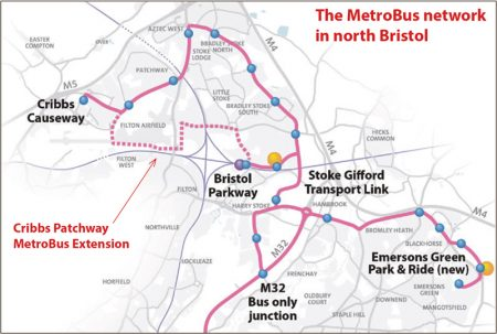 MetroBus network in north Bristol, showing proposed Cribbs Patchway MetroBus Extension.