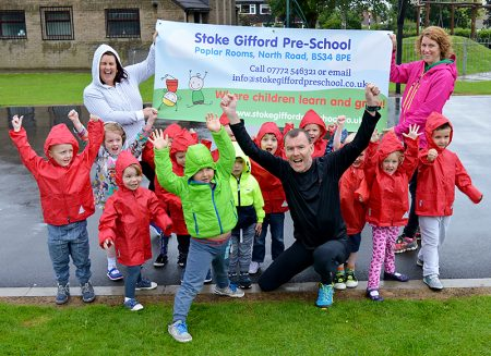 Runner Jim Plunkett-Cole (a.k.a Jim Gump) on a visit to Stoke Gifford Pre-School.