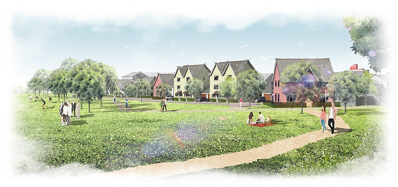 Artist's impression of part of Crest Nicholson's proposed development at East of Harry Stoke.