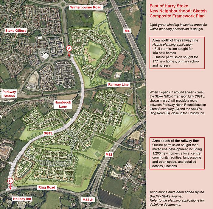 East of Harry Stoke New Neighbourhood: Sketch Composite Framework Plan (August 2016).