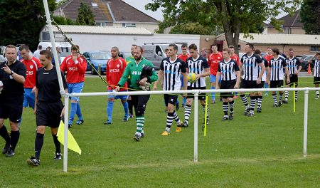 Little Stoke FC players walk out for their first home game in the Gloucestershire County League, against Frampton United, on Saturday 27th August 2016.
