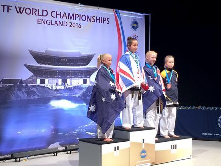 Esme McCarthy, gold medal winner in 1st Degree Patterns at the 2016 International Taekwon-Do Federation World Championships.