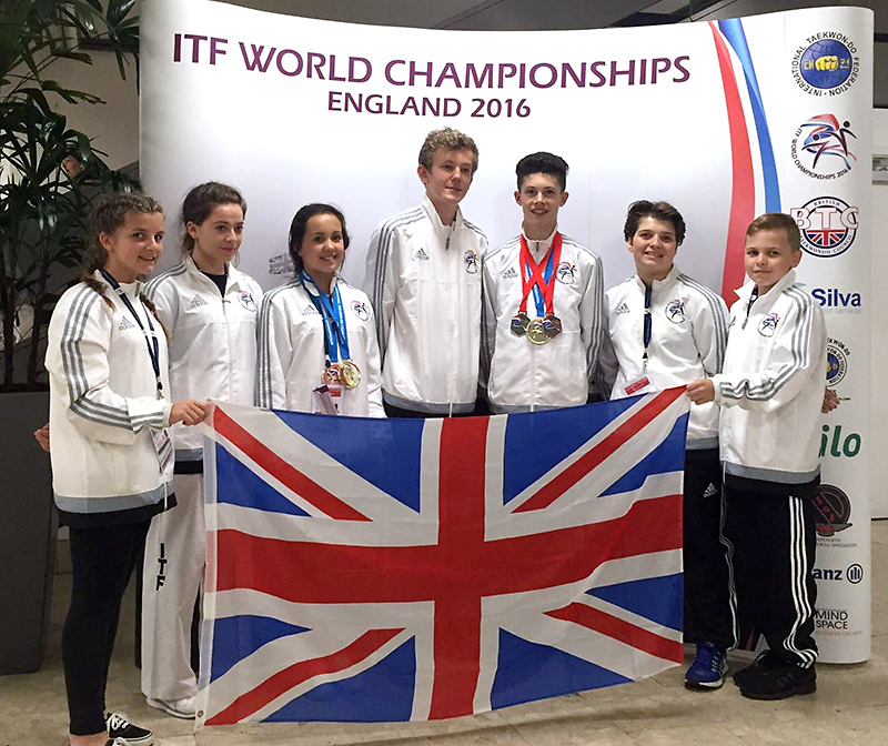 The UK International Taekwon-Do Federation (ITF) Bristol team at the 2016 ITF World Championships.