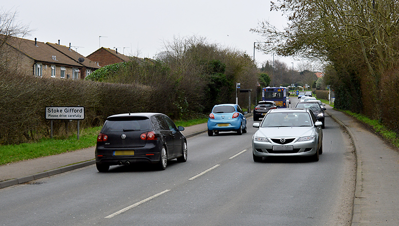 Hatchet Road, Stoke Gifford, where a new southbound bus lane is proposed as part of the Cribbs Patchway MetroBus Extension project.