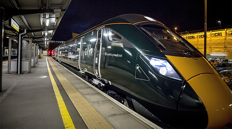 A GWR branded Hitachi IEP train pictured at Bristol Parkway in July 2016.