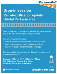 Poster advertising a drop-in event about railway upgrade work at Bristol Parkway Station.