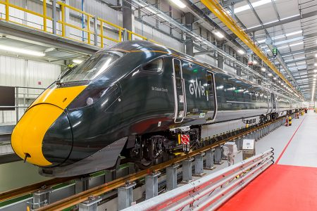 Photo of an Hitachi Intercity Express (ICE) train inside the Stoke Gifford service depot.