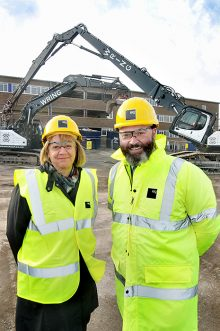 Amanda Deeks (chief executive of South Gloucestershire Council) and James Digby (director of Ashfield Land) mark the formal start of site clearance and demolition at The Approach, Hunts Ground Road, Stoke Gifford, Bristol.